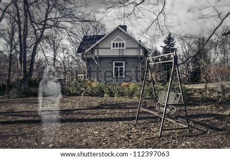 ghost girl near the house - stock photo