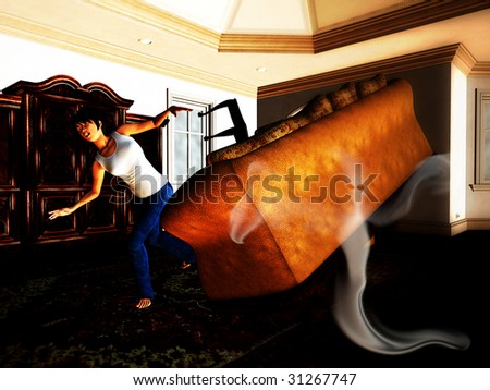 Ghost in The House - stock photo