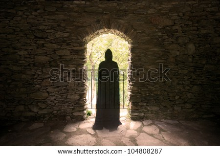ghost in window - stock photo