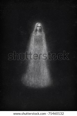 Ghost. Pencil on paper. - stock photo