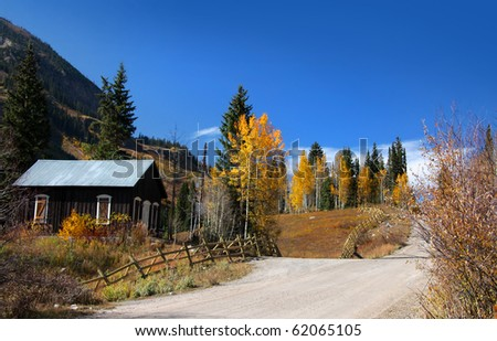 Ghost town in Colorado rocky mountains in autumn time - stock photo