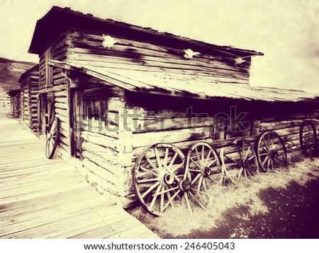 ghost town, wild west, cody, wyoming, usa - stock photo