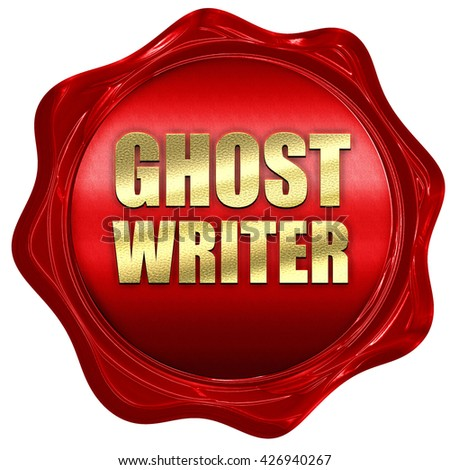 ghost writer, 3D rendering, a red wax seal - stock photo