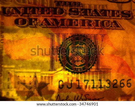 Ghostly face of Ulysses S. Grant peers from the paper of a $50 bill when lit from behind - stock photo