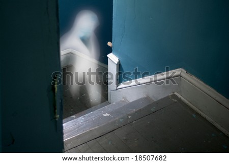Ghostly Stairway - stock photo