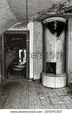 Ghosts in a haunted house. - stock photo