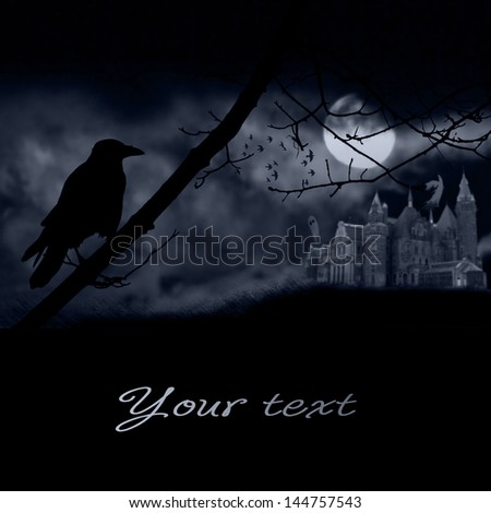 ghosts, old gravestones, moon and black raven - stock photo