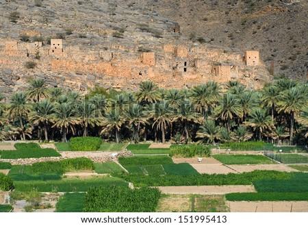Ghul, Wadi Ghul in sultanate Oman  - stock photo