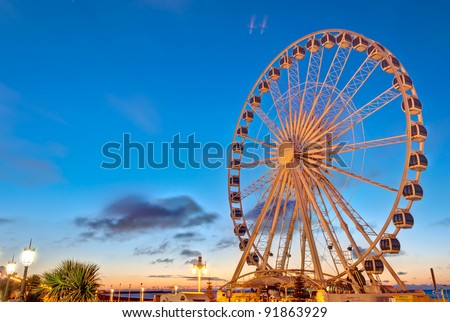 Giant Brighton Wheel at sunrise. - stock photo