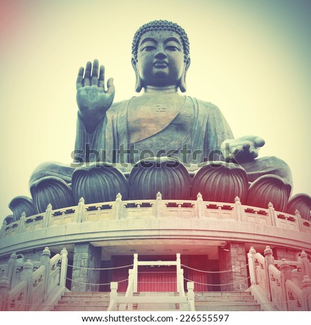 Giant Buddha in Hong Kong. Instagram style filtred image  - stock photo