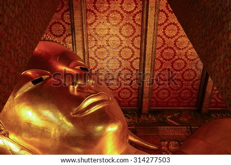Giant Buddha inside Wat Pho Temple at Bangkok Province Asia Thailand, They are public domain or treasure of Buddhism, no restrict in copy or use - stock photo