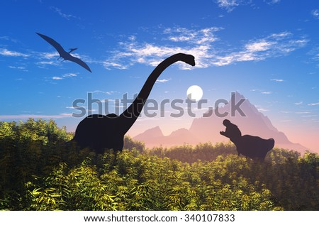 Giant dinosaur in the background of the colorful sky. - stock photo