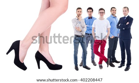 giant female legs and little business men isolated on white background - stock photo