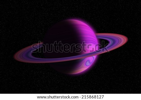 Giant gas planet with ring in outer space and stars - stock photo