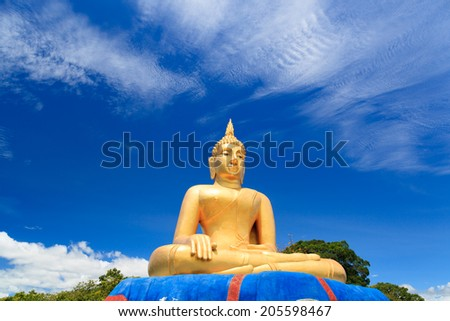 Giant golden Buddha statue hands, Khao Tao in Thailand - stock photo