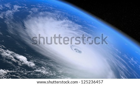 Giant hurricane seen from the space - stock photo