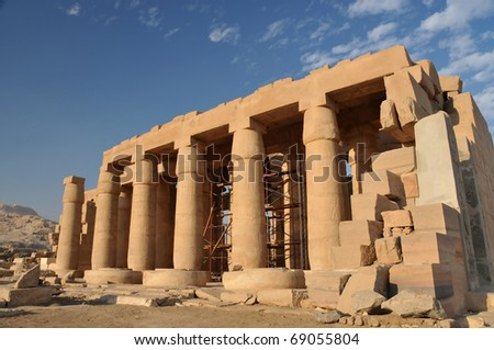 Giant hypostyle hall of the Ramesseum, the ancient egyptian mortuary temple of Ramses II at thebes near Luxor, Egypt - stock photo