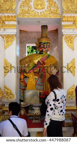 giant in the temple thailand - stock photo