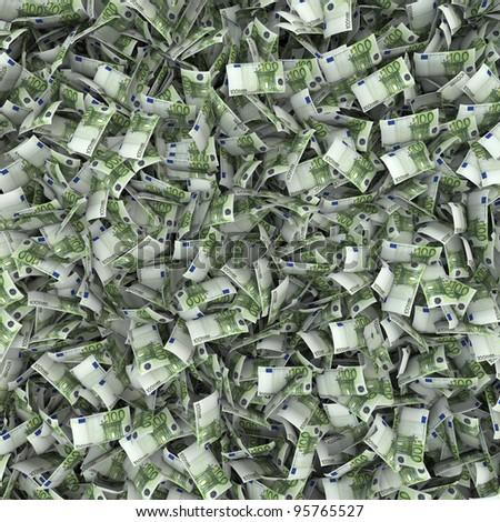 Giant money background flying 100 euro notes - stock photo