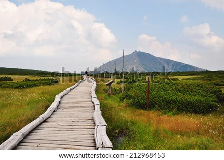Giant mountains, Krkonose, Czech mountains. - stock photo