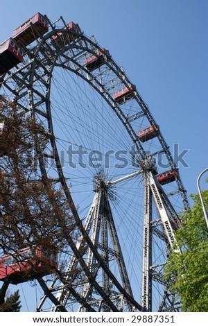 Giant old ferris wheel in Vienna, Austria - stock photo
