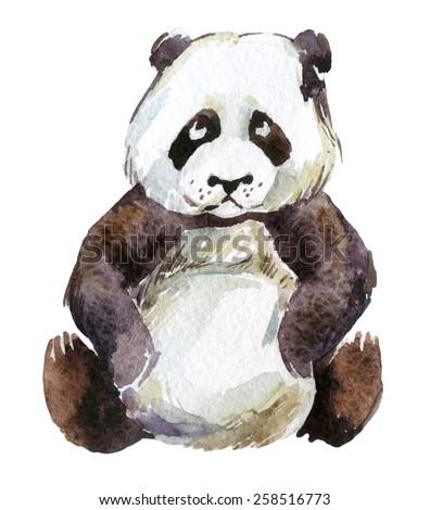 Giant panda, watercolor illustration - stock photo