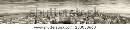 Giant panoramic view of Istanbul. Aerial city view on a beautiful sunny day. - stock photo