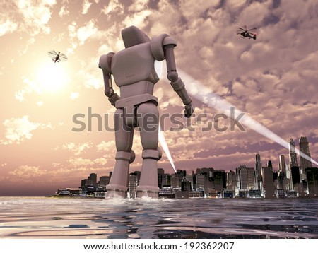 Giant robot coming to a city by the sea - stock photo
