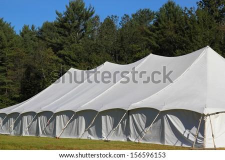 giant white entertainment tent angle view - stock photo
