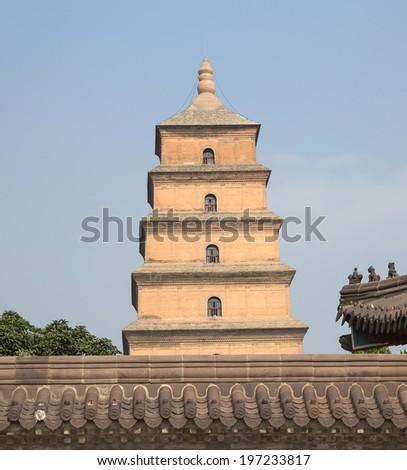 Giant Wild Goose Pagoda (Big Wild Goose Pagoda), is a Buddhist pagoda located in southern Xian (Sian, Xi'an), Shaanxi province, China - stock photo