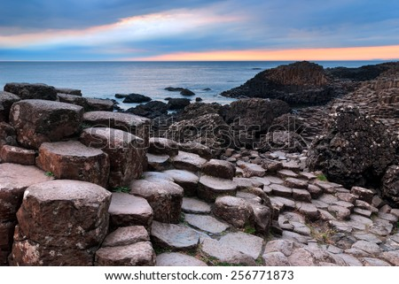 Giants Causeway unique basalt rock formation in Northern Ireland - stock photo