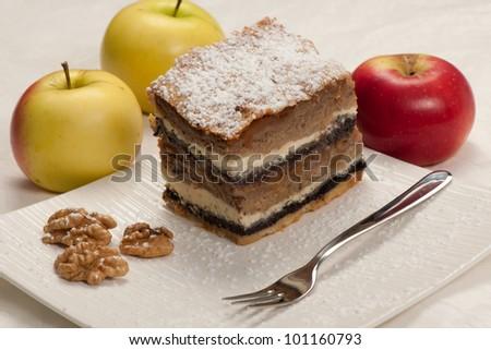 Gibanica - traditional slovenian apple cake - stock photo