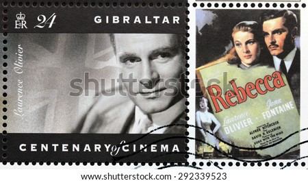 GIBRALTAR - CIRCA 1995: A postage stamp printed by GIBRALTAR shows image portrait of English actor Laurence Olivier, circa 1995. - stock photo