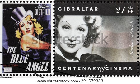 GIBRALTAR - CIRCA 1995: A postage stamp printed by GIBRALTAR shows image portrait of famous German-born American actress and singer Marlene Dietrich, circa 1995. - stock photo