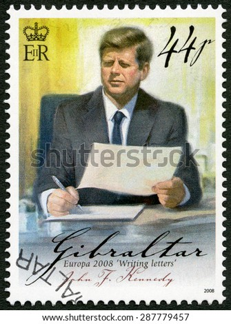 GIBRALTAR - CIRCA 2008: A stamp printed in Gibraltar shows of John F. Kennedy (1917-1963), series Europa letter writing, circa 2008 - stock photo