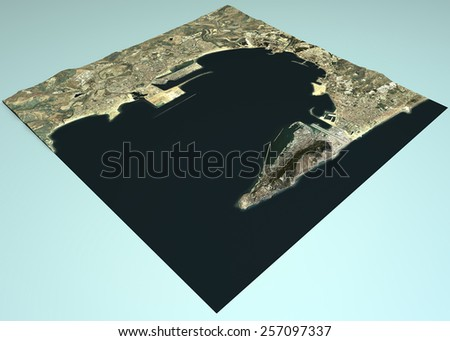 Gibraltar country, view satellite maps. Element of this image are furnished by NASA - stock photo