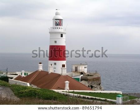 Gibraltar Lighthouse at Europa Point - stock photo
