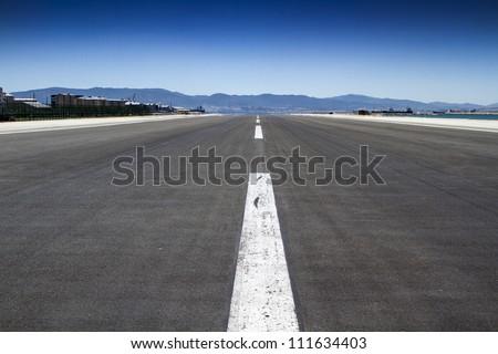 Gibraltar runway - stock photo