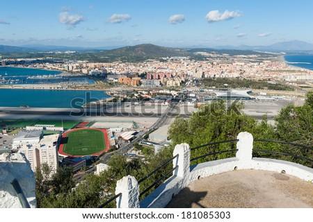 Gibraltar Spain border - stock photo
