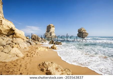 Gibson Steps and Twelve Apostles, Great Ocean Road, Victoria, Australia - stock photo