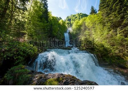 Giessbach waterfalls, Brienz, Switzerland - stock photo