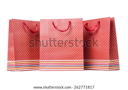 Gift bags isolated on the white background - stock photo