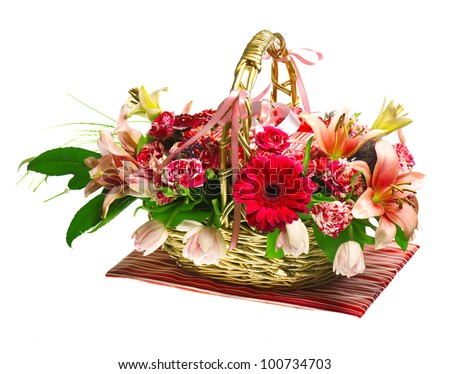gift basket of lilias, roses and gerberas - stock photo