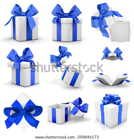 gift blue box set 3d rendering - stock photo
