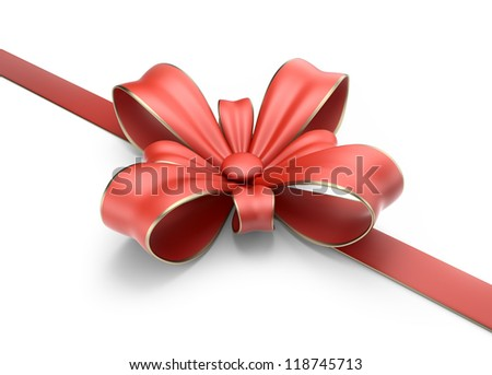 Gift bow and ribbon 3D. Isolated on white background - stock photo