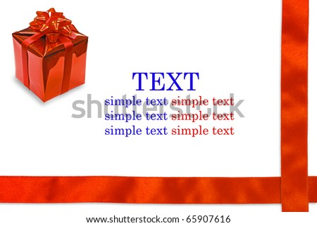 Gift box and red ribbon on white background with copy space for text - stock photo