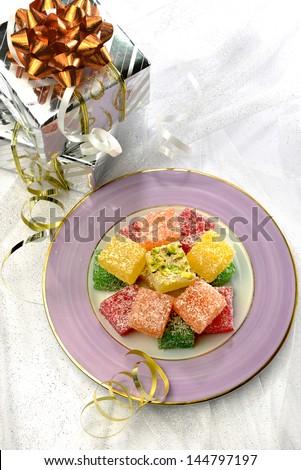 Gift box and turkish sweet - stock photo