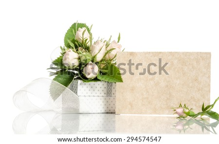 gift box and white roses with empty card for you text on white background - stock photo