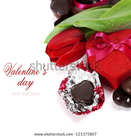 gift box, chocolate  and flowers for Valentine's day ( on white background). - stock photo