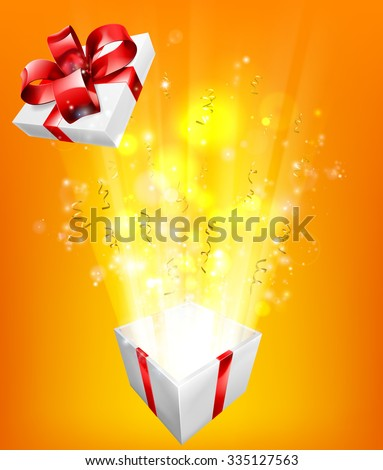 Gift box explosion concept for an exciting birthday, Christmas or other gift or present. - stock photo
